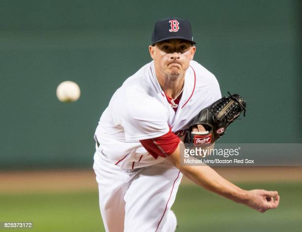 Addison Reed of the Boston Red Sox pitches against the Cleveland Indians in the eighth inning on August 1 2017 in Boston Massachusetts