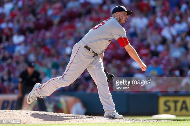 Addison Reed of the Boston Red Sox throws a pitch during the game against the Cincinnati Reds at Great American Ball Park on September 24 2017 in...