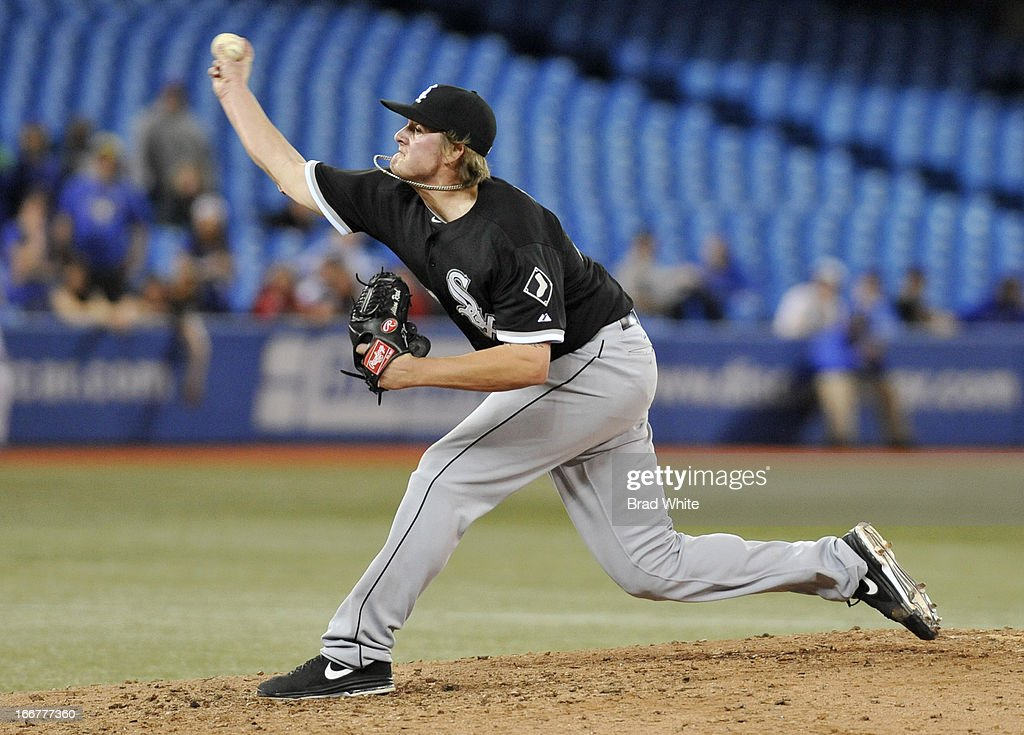 Addison Reed #43 of the Chicago White Sox delivers a pitch during MLB-game action against the Toronto Blue Jays April 16, 2013 at Rogers Centre in Toronto, Ontario, Canada.