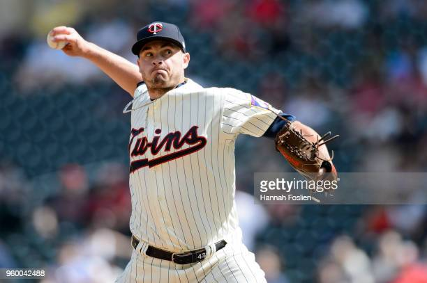 Addison Reed of the Minnesota Twins delivers a pitch against the St Louis Cardinals during the interleague game on May 16 2018 at Target Field in...