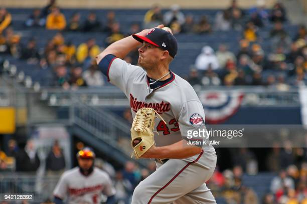 Addison Reed of the Minnesota Twins in action against the Pittsburgh Pirates during interleague play at PNC Park on April 2 2018 in Pittsburgh...