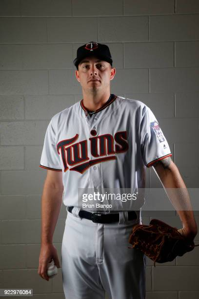 Addison Reed of the Minnesota Twins poses for a portrait on February 21 2018 at Hammond Field in Ft Myers Florida