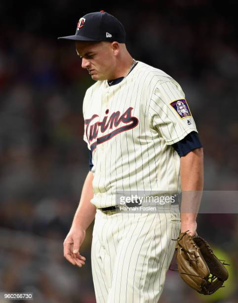 Addison Reed of the Minnesota Twins reacts after pitching against the Milwaukee Brewers during the eighth inning of the interleague game on May 19...