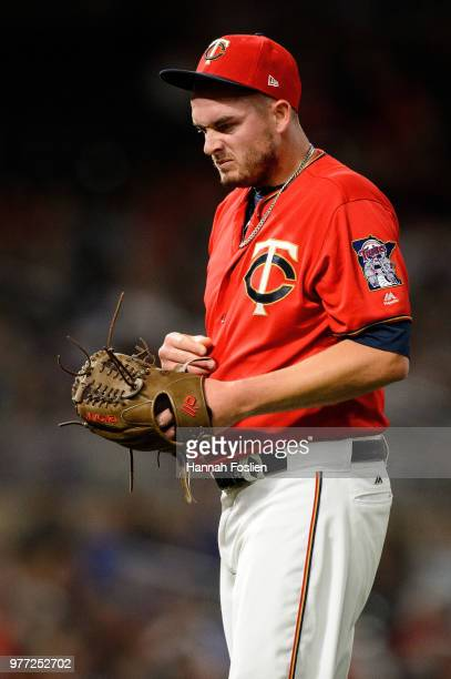 Addison Reed of the Minnesota Twins reacts during the game against the Los Angeles Angels of Anaheim on June 8 2018 at Target Field in Minneapolis...