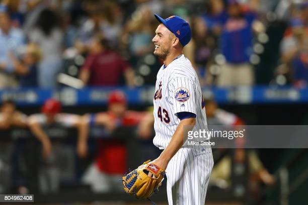 Addison Reed of the New York Mets celebrates after getting the save and defeating the Philadelphia Phillies 21 at Citi Field on June 30 2017 in the...