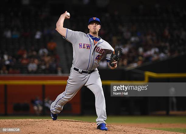 Addison Reed of the New York Mets delivers a pitch against the Arizona Diamondbacks at Chase Field on August 16 2016 in Phoenix Arizona