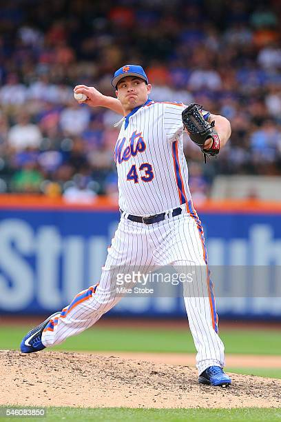 Addison Reed of the New York Mets in action against the Washington Nationals at Citi Field on July 10 2016 in the Flushing neighborhood of the Queens...