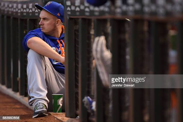 Addison Reed of the New York Mets looks on from the dugout during the MLB game against the Arizona Diamondbacks at Chase Field on May 16 2017 in...