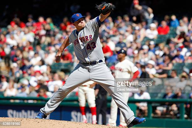 Addison Reed of the New York Mets pitches against the Cleveland Indians at Progressive Field in the ninth inning on April 17 2016 in Cleveland Ohio...