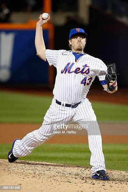 Addison Reed of the New York Mets pitches against the Kansas City Royals during Game Four of the 2015 World Series at Citi Field on October 31 2015...