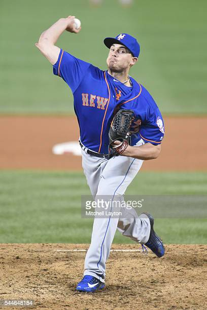 Addison Reed of the New York Mets pitches during a baseball game against the Washington Nationals at Nationals Park on June 28 2016 in Washington DC...