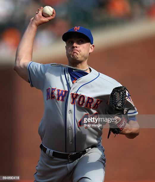 Addison Reed of the New York Mets pitches during the game against the San Francisco Giants at ATT Park on Saturday August 20 2016 in San Francisco...