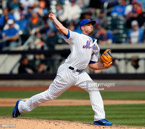 Addison Reed of the New York Mets throws a pitch in an MLB baseball game against the San Francisco Giants on May 10 2017 at CitiField in the Queens...