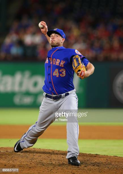 Addison Reed of the New York Mets throws in the ninth inning against the Texas Rangers at Globe Life Park in Arlington on June 7 2017 in Arlington...