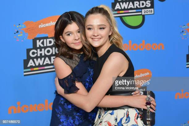 Addison Riecke and Lizzy Greene attend Nickelodeon's 2018 Kids' Choice Awards at The Forum on March 24 2018 in Inglewood California