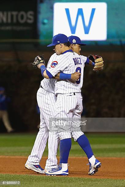 Addison Russell and Javier Baez of the Chicago Cubs celebrate after beating the Cleveland Indians 32 in Game Five of the 2016 World Series at Wrigley...