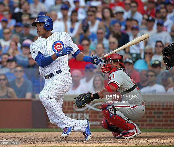 Addison Russell of the Chicago Cubs bats against the Philadephia Phillies at Wrigley Field on July 24 2015 in Chicago Illinois The Phillies defeated...
