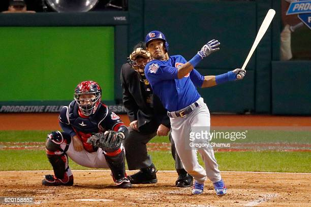 Addison Russell of the Chicago Cubs hits a grand slam home run during the third inning against the Cleveland Indians in Game Six of the 2016 World...