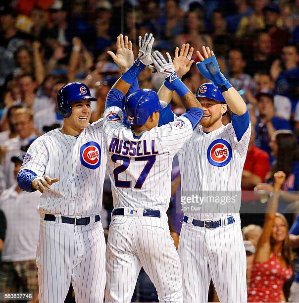 Addison Russell of the Chicago Cubs is congratulated by Anthony Rizzo and Ben Zobrist after hitting a grand slam against the Chicago White Sox during...