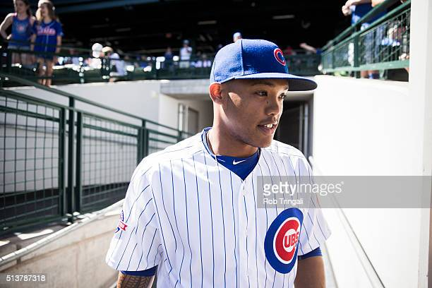 Addison Russell of the Chicago Cubs looks on before a spring training game against the Los Angeles Angels at Sloan Park on March 4 2016 in Mesa...