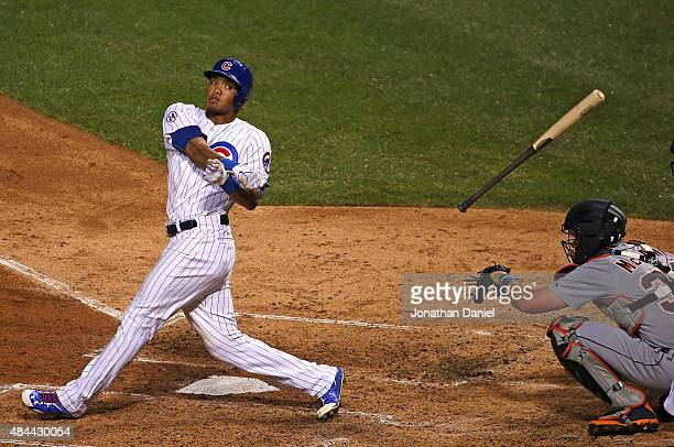 Addison Russell of the Chicago Cubs looses his bat while swinging in the 3rd inning against the Detroit Tigers at Wrigley Field on August 18 2015 in...