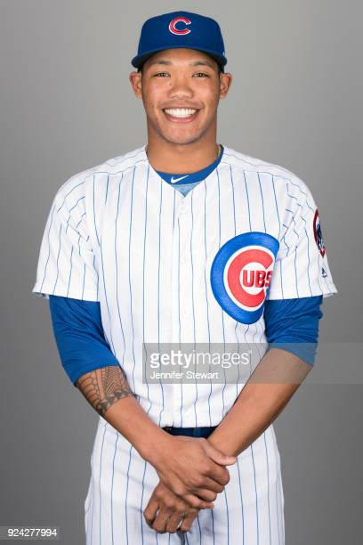Addison Russell of the Chicago Cubs poses during Photo Day on Tuesday February 20 2018 at Sloan Park in Mesa Arizona
