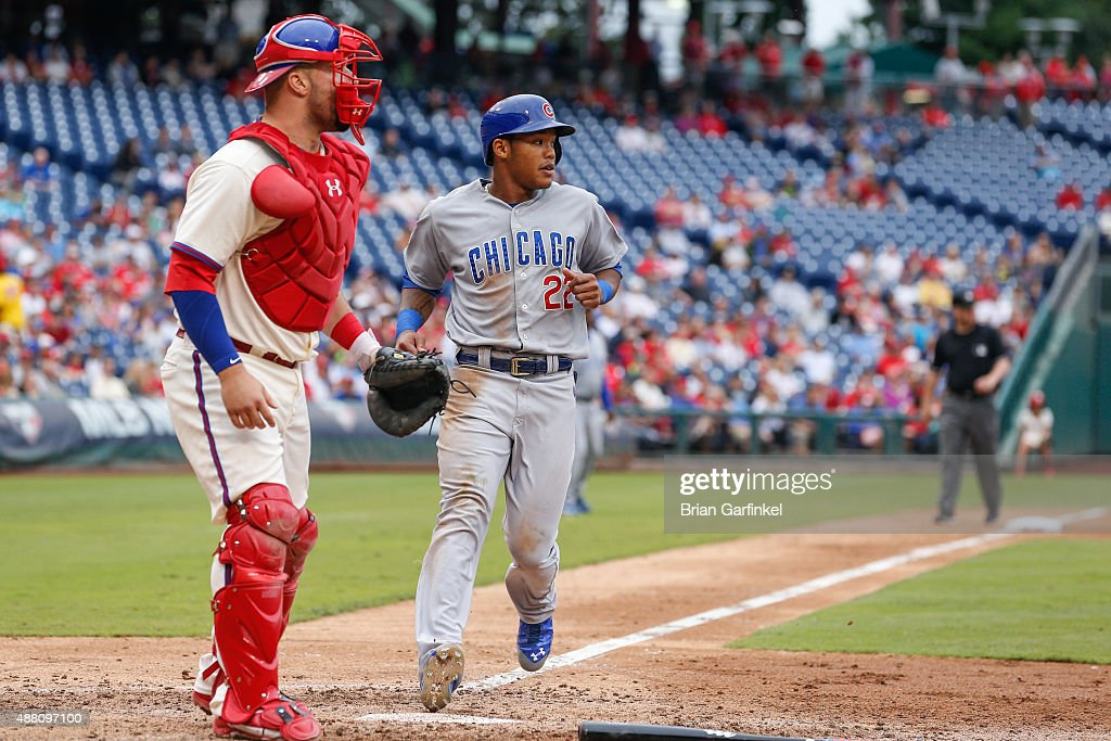 Addison Russell #22 of the Chicago Cubs scores a run in the seventh inning of the game against the Philadelphia Phillies at Citizens Bank Park on September 13, 2015 in Philadelphia, Pennsylvania. The Phillies won 7-4.