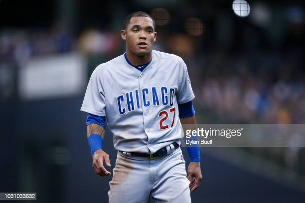 Addison Russell of the Chicago Cubs stands on the field in the fourth inning against the Milwaukee Brewers at Miller Park on September 3 2018 in...