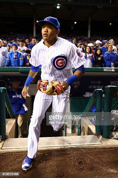 Addison Russell of the Chicago Cubs takes the field prior to Game 5 of the 2016 World Series against the Cleveland Indians at Wrigley Field on Sunday...