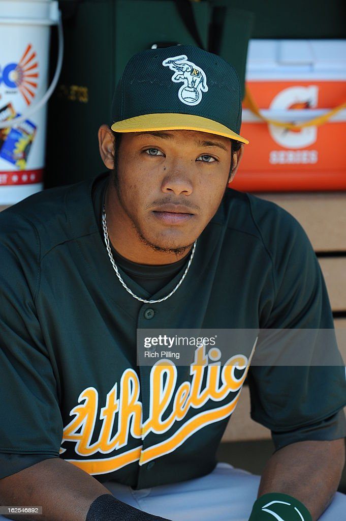 Addison Russell #7 of the Oakland Athletics is seen prior to the game against the Los Angeles Angeles of Anaheim on February 24, 2013 at Tempe Diablo Stadium in Tempe, Arizona. The Athletics defeated the Angels 7-5.