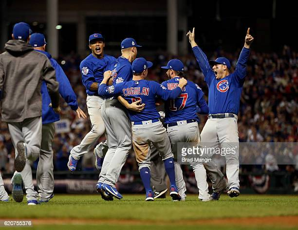 Addison Russell Ryand Dempster Chris Coghlan Kris Bryant and Anthony Rizzo of the Chicago Cubs celebrate after winning Game 7 of the 2016 World...