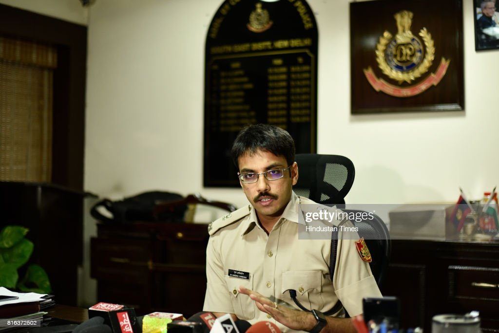 Additional Deputy Commissioner of Police (ADCP) M. Harsha Vardhan speaks during a press briefing about the arrest of Robin Hood burglar Irfan aka Ujjala on July 17, 2017 in New Delhi, India. Irfan, 27, was caught from Bihar's Pupri district by Delhi Police team for involvement in at least 12 cases of burglary. In his native village in Bihar's Sitamarhi district, Irfan portrayed himself as a social worker who organised health camps and funded the weddings for poor families all to fuel his political ambitions.
