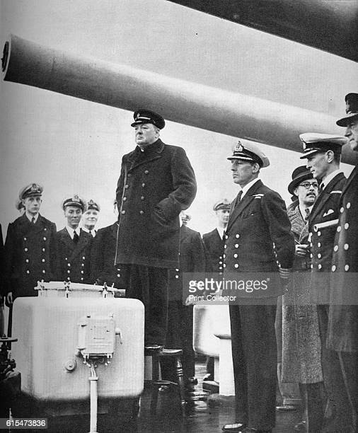 Addressing the Crew of HMS Exeter on their return from the sinking of the Graf Spee at the battle of the River Plate' 1940 German cruiser Admiral...