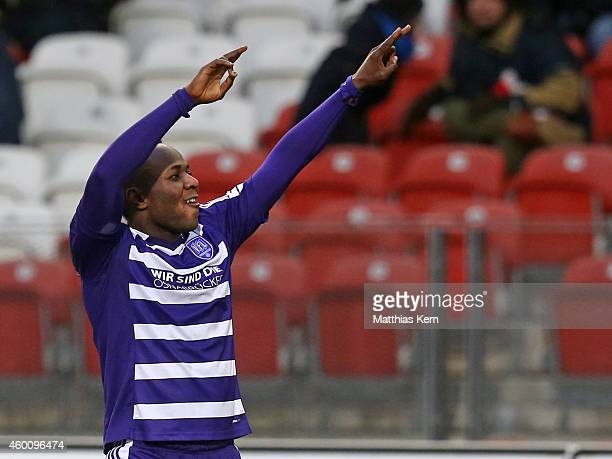 Addy Waku Menga of Osnabrueck jubilates after scoring the second goal during the third league match between FC Energie Cottbus and VFL Osnabrueck at...