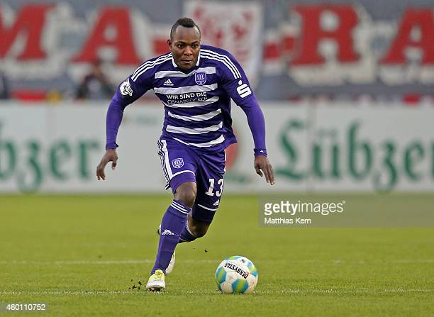 Addy Waku Menga of Osnabrueck runs with the ball during the third league match between FC Energie Cottbus and VFL Osnabrueck at Stadion der...