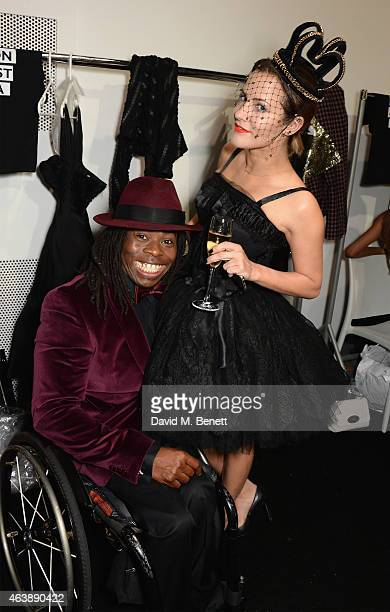 Ade Adepitan and Caroline Flack attend the Fashion For Relief charity fashion show to kick off London Fashion Week Fall/Winter 2015/16 at Somerset...