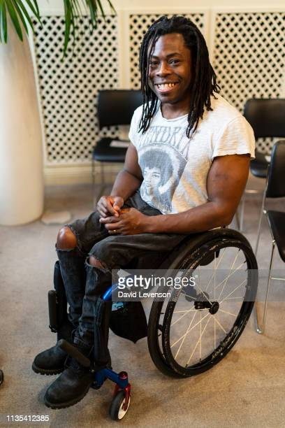 Ade Adepitan paralympian and television presenter at the Oxford Literary Festival 2019 on April 6 2019 in Oxford England