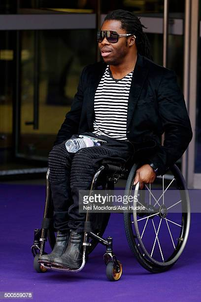 Ade Adepitan seen leaving the 23rd ICAP annual Charity Day on December 9 2015 in London England