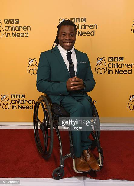 Ade Adepitan shows support for BBC Children in Need at Elstree Studios on November 18 2016 in Borehamwood United Kingdom