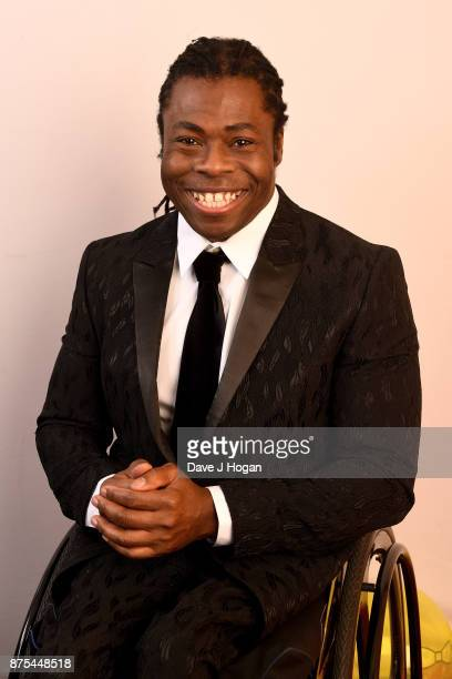 Ade Adepitan shows support for BBC Children in Need at Elstree Studios on November 17 2017 in Borehamwood England