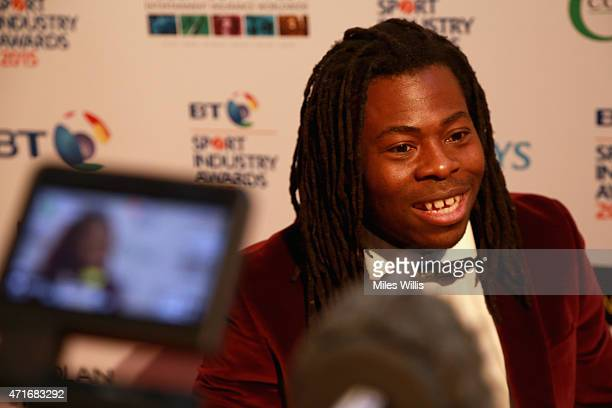 Ade Adepitan speaks to the media at the BT Sport Industry Awards 2015 at Battersea Evolution on April 30 2015 in London England The BT Sport Industry...