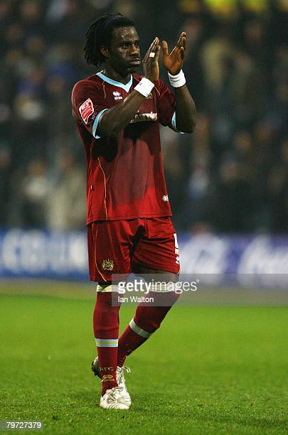 Ade Akinbiyi of Burnley celebrates victory after the Coca Cola Championship match between Queens Park Rangers and Burnley at Loftus Road on February...
