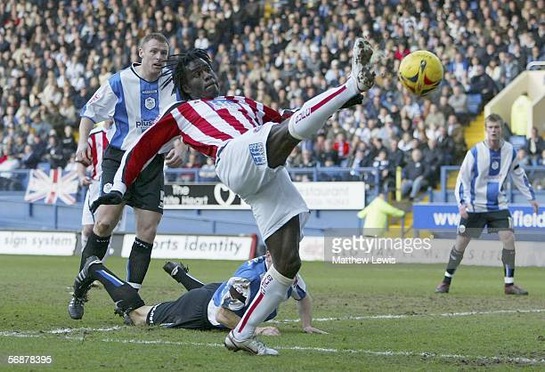 Ade Akinbiyi of Sheffield United has a shot on goal during the CocaCola Championship match between Sheffield Wednesday and Sheffield United at...