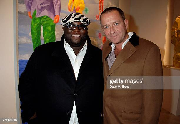 Ade and Sean Pertwee attend the PostWar Contemporary Art Party hosted by Christie's and Vanity Fair at Christie's on October 10 2007 in London England