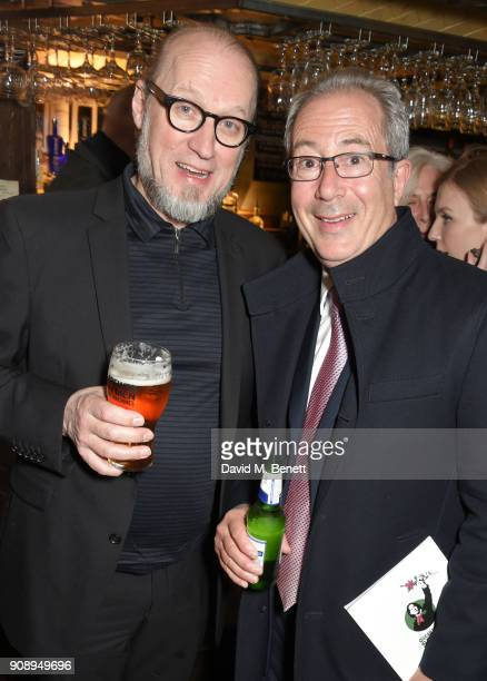 Ade Edmondson and Ben Elton attend the press night after party for 'Lady Windermere's Fan' at The Porterhouse on January 22 2018 in London England