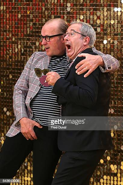 Ade Edmondson and Ben Elton attend the World premiere of 'Absolutely Fabulous' at Odeon Leicester Square on June 29 2016 in London England