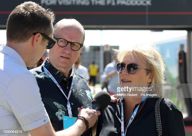 Ade Edmondson and Jennifer Saunders arrive for the 2018 British Grand Prix at Silverstone Circuit Towcester