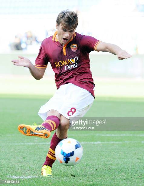 Ade Ljajic of Roma kicks the penalty and scores the goal 20 during the Serie A match between AS Roma and SS Lazio at Stadio Olimpico on September 22...