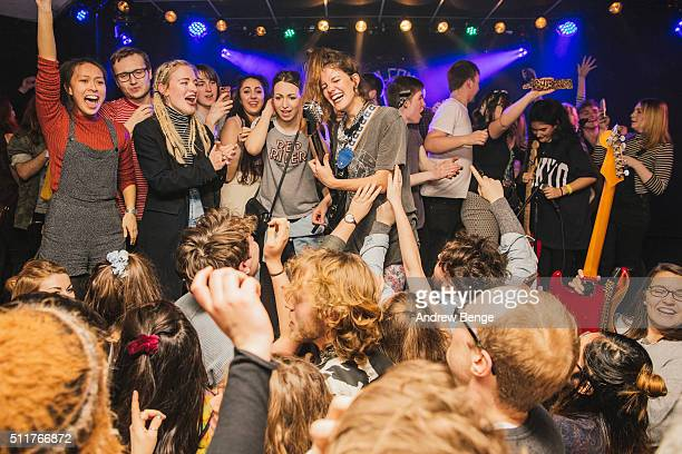 Ade Martin Ana Garcia Amber Grimbergen and Carlotta Cosials of Hinds perform on stage at Brudenell Social Club on February 22 2016 in Leeds England