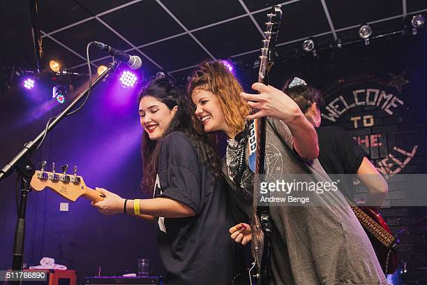 Ade Martin and Carlotta Cosials of Hinds perform on stage at Brudenell Social Club on February 22 2016 in Leeds England